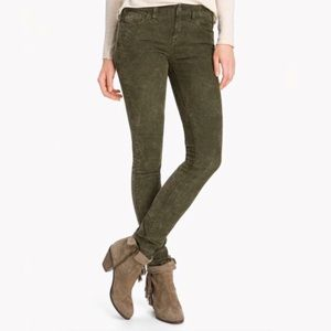 Free People Mineral Wash Olive Green Skinny Cords